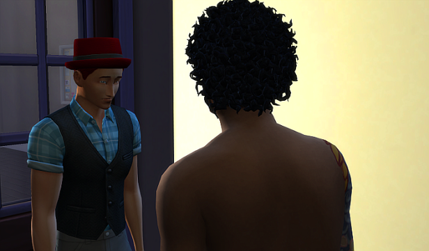 This next picture is Rez looking sad and uncertain in the doorway to Phoenix's apartment. Phoenix's back is too us (and he isn't wearing a shirt)