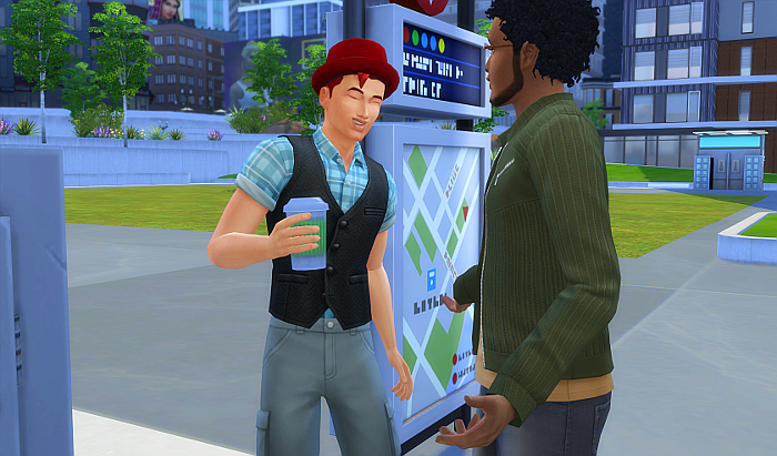 This is a montage of events that occur after the story. The first is Rez, coffee in hand, talking to Phoenix Drifter (from Switch). Rez is smiling.