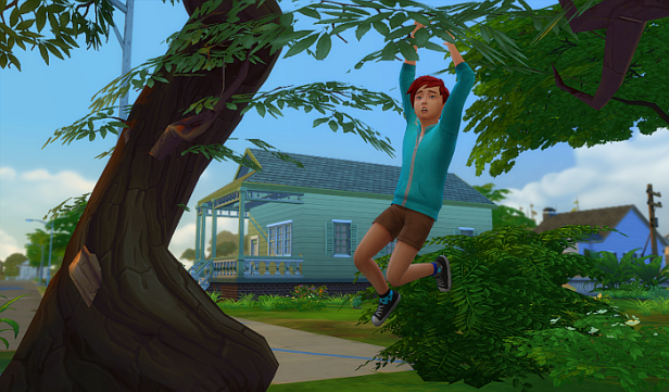 Rez as a child falling from a tree. Rez has short red hair, a blue jacked, brown shorts.