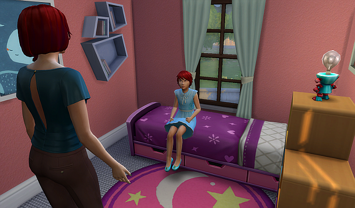 Rez as a small child in a pretty pink and purple room. Rez still has short hair, but is wearing a blue dress, blue shoes and an angry expression. Rez's mother is talking.