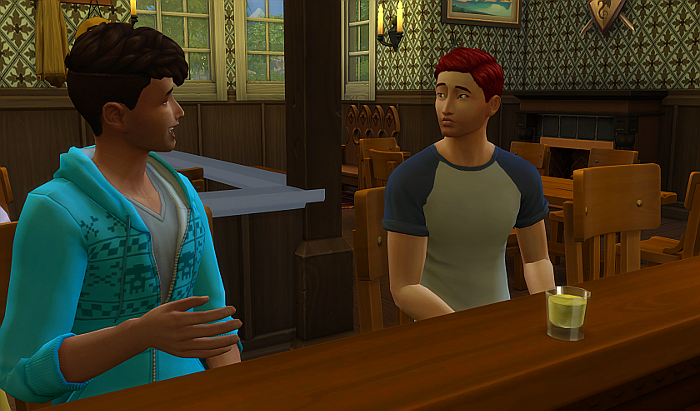 Rez as an adult now talking to another guy at the bar. he looks a little nervous - the other guy is smiling and talking