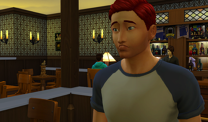 Rez is leaving the bar alone with a frown on his face. The other guy is back at the bar.