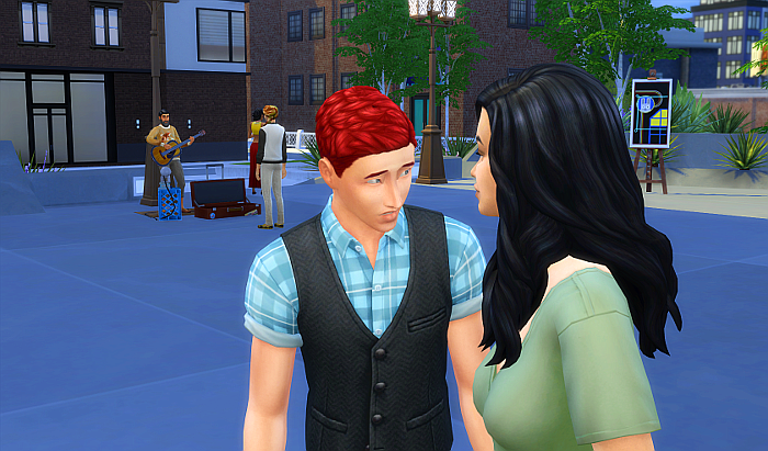 Rez out on the street in San Myshuno (Uptown if your curious). He's looking very nervous as he talks to a dark haired woman.