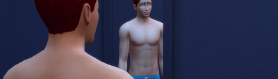 Rez stands in front of a mirror his back to us. We can see his uncertain expression in the mirror. he's not wearing a shirt. Two scars run horizontally across his chest.