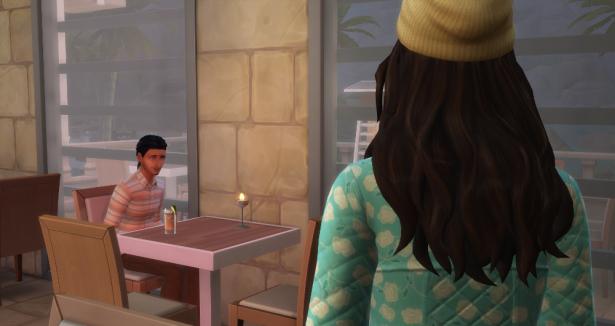 Elisa walks towards David's empty table.