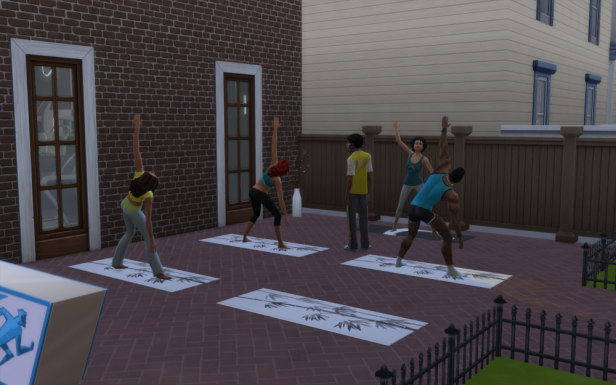 A group of sims doing yoga outside (Triangle pose). Another sim in a yellow shirt watches awkwardly in the center of it all.