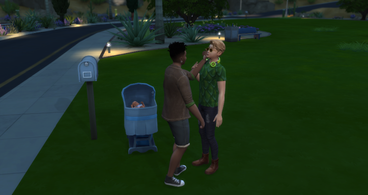 Skye and Oz flirting on an empty lot with a baby in a bassinet nearby.