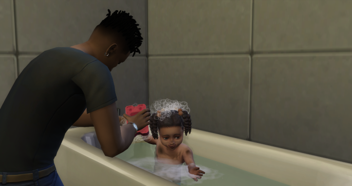 Baths are lot easier with a bathroom. Unlike Kierra, Emery is getting a proper bath in a tub.
