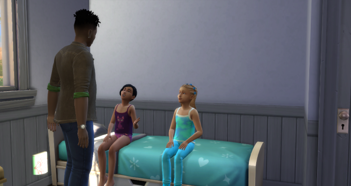 Skye is talking to Emery and Kierra as they both sit on a bed. There is a door to this room proving their house is no longer one giant room.