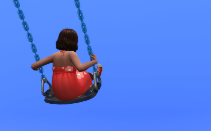 Abby is swinging in a clear blue sky wearing a red dress. Her back is to us.