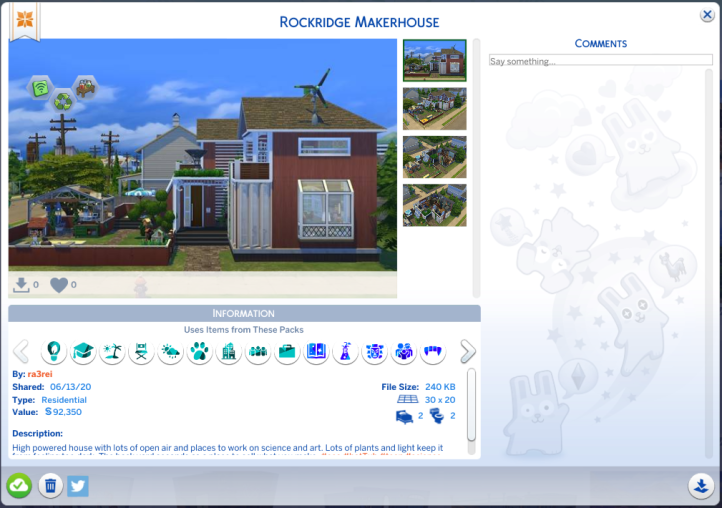 Screenshot of the gallery post for the Rockridge MakerHouse by Ra3rei.