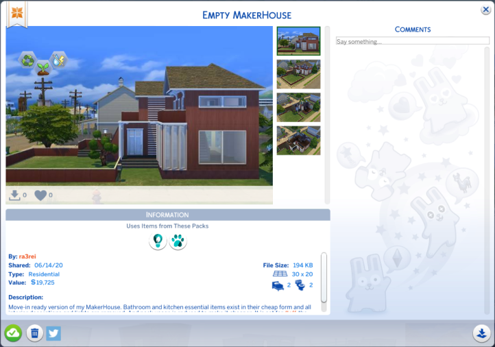 Screenshot of the gallery post for the Empty MakerHouse by Ra3rei.
