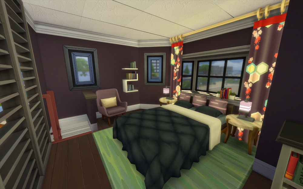 Large black bed, but the walls, pillows, and curtains are all a light grey color. The rug is green, which kind of works? I think that's the weakest part of the build.