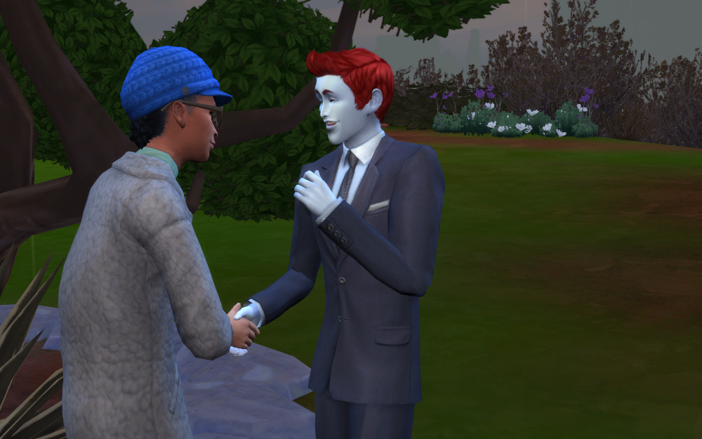 Adam, wearing his best suit, gets another sim to agree to support his cause! Sealed with a handshake.